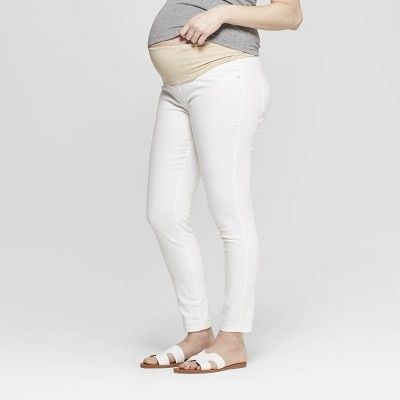 4f1c504ca4575 Maternity Crossover Panel White Skinny Jeans - Isabel Maternity by Ingrid &  Isabel White 00