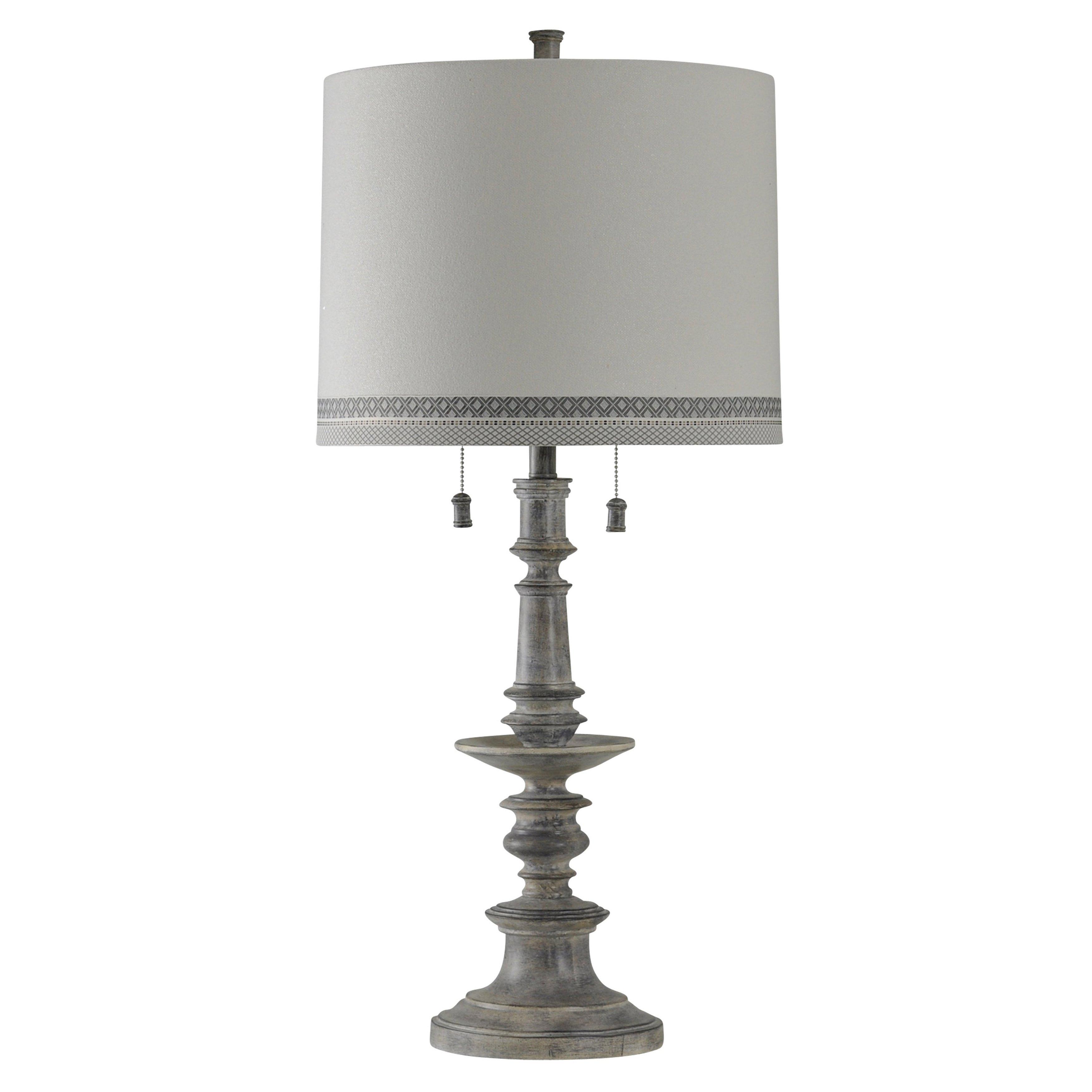 Grayson Washed Gray Table Lamp White Hardback Fabric