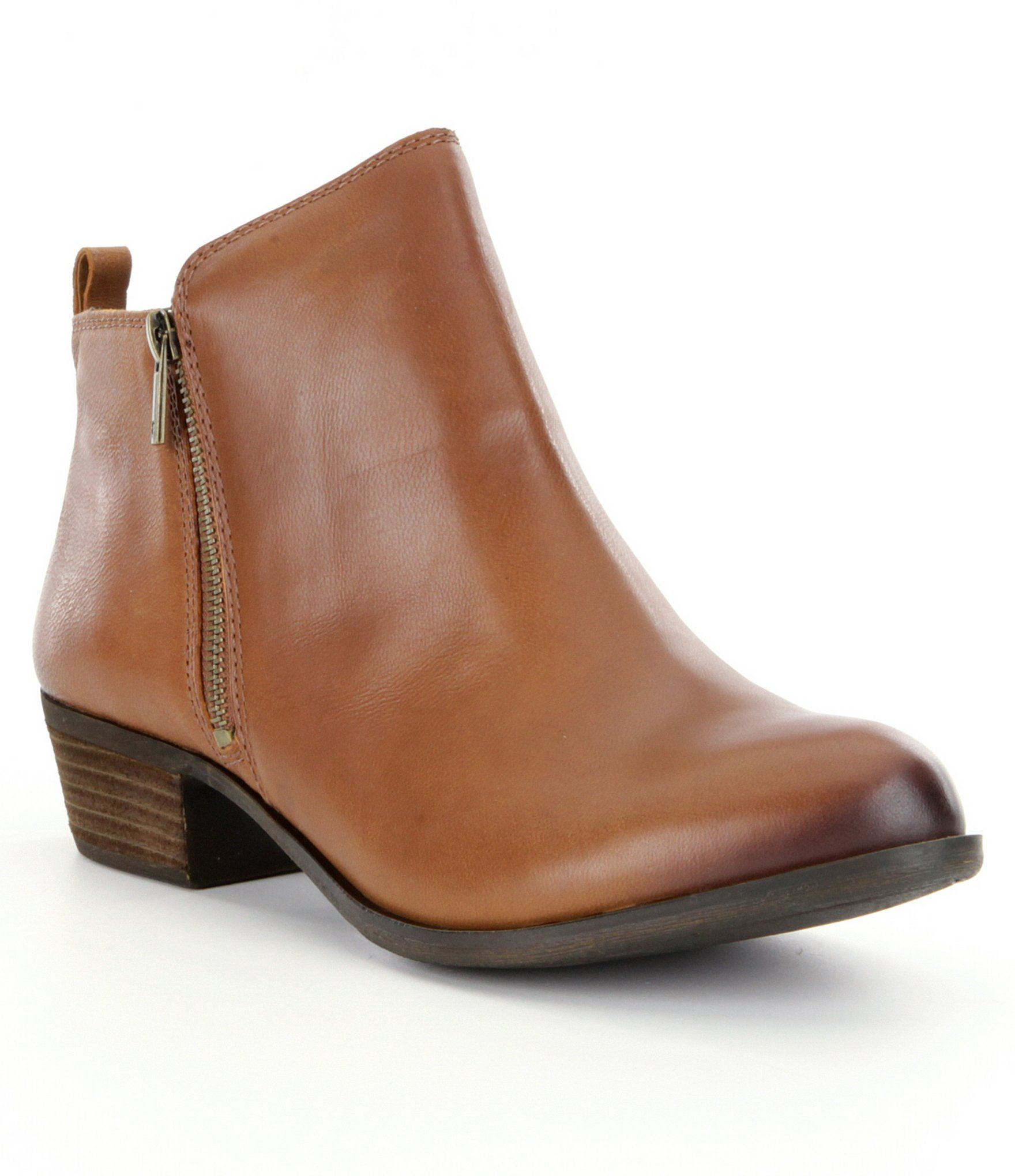 Lucky Brand Basel Smooth Leather Zip Stacked Heel Booties
