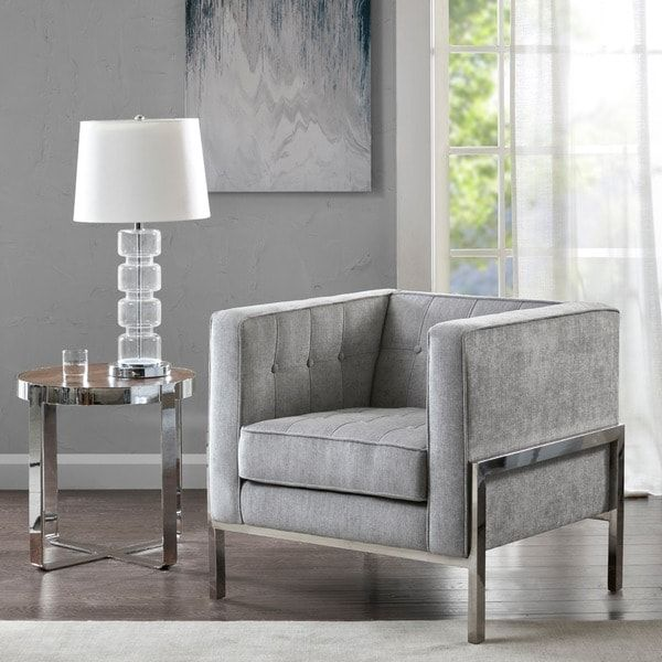 madison park ruby gray silver accent chair 31 89w x 31 89 d x