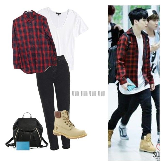 """""""Jimin Airport Fashion"""" by sebootae ❤ liked on Polyvore featuring Topshop, Timberland, Rebecca Minkoff, Hermès and Maison Margiela"""