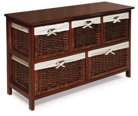 BEDROOM ORGANIZATION IDEAS   Five Basket Storage Unit With Wicker Baskets