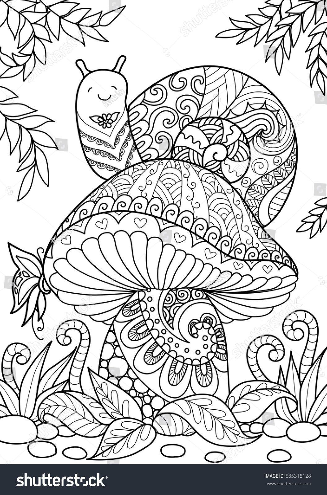 Snail Sitting On Beautiful Mushroom For T Shirt Design