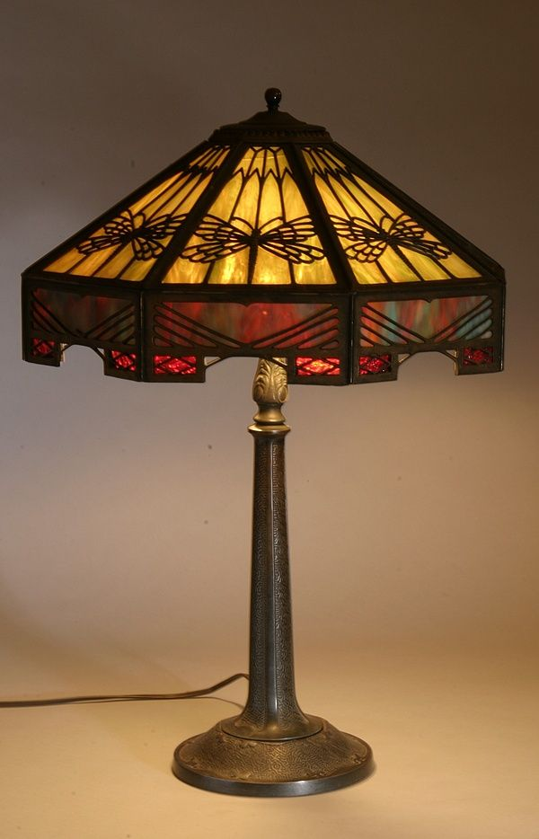 Beautiful example of a bradley hubbard lamp and shade from the antique tiffany lamps art nouveau lamps and chandeliers antique stained and beveled glass aloadofball Gallery