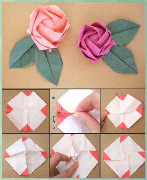 Photo of Papierfaltkunst – Origami Rose – Paper Quilling Designs Disney