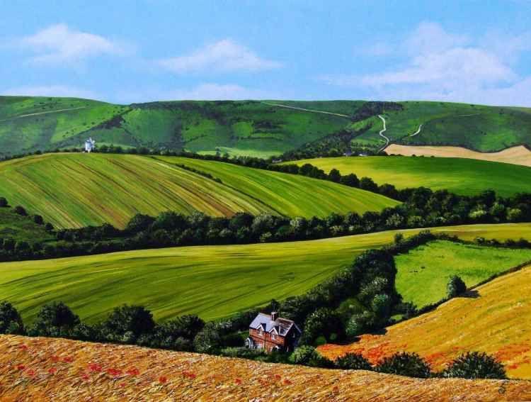 Beyond to Kingston Ridge (Lewes) (2016) Acrylic painting by Paula Oakley | Artfinder