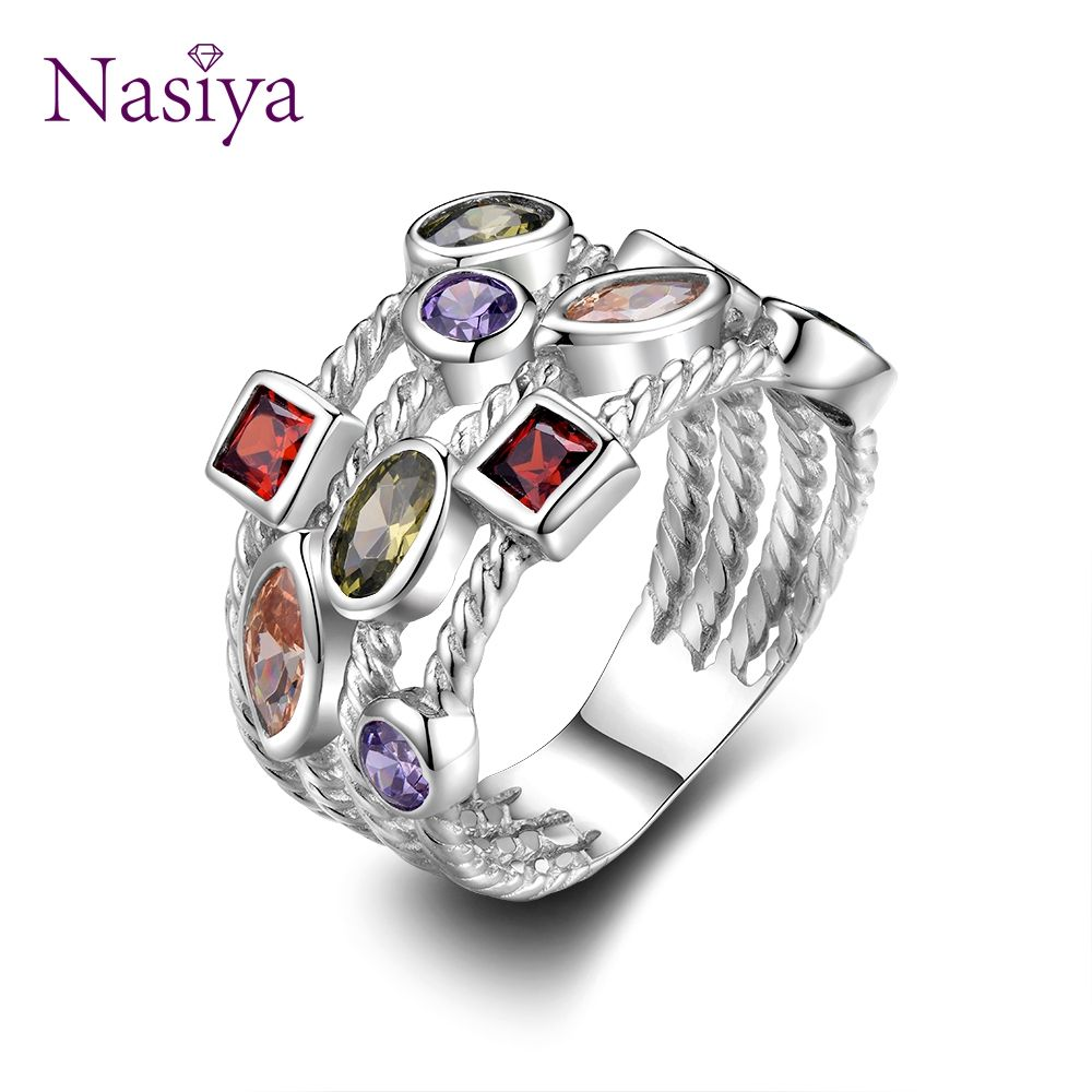 Fashion Colorful Gemstone Vintage Rings For Women Sterling Silver 925 Jewelry Ring Luxury Anniversary Bi Sterling Silver Jewelry Multicolor Jewelry Women Rings