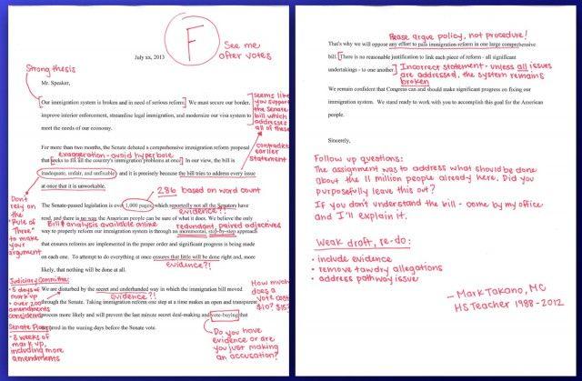 Ohhh ThatS Funny TeacherTurnedCongressman Grades Gop Letter