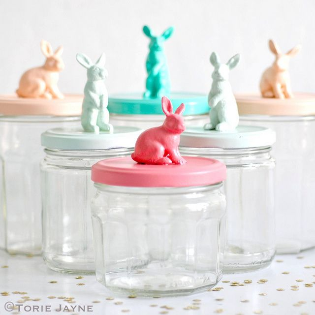 9 easy easter crafts using household objects storage jars easter fun easter craft idea using mason jars plastic bunny figurines and spray paint great gift idea for easter negle Images