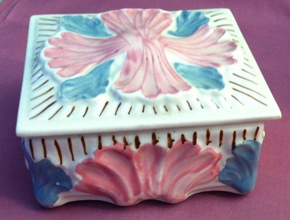 Blue Ridge Southern Potteries SEASIDE China Sculpted Hand Painted Box #SouthernPotteries