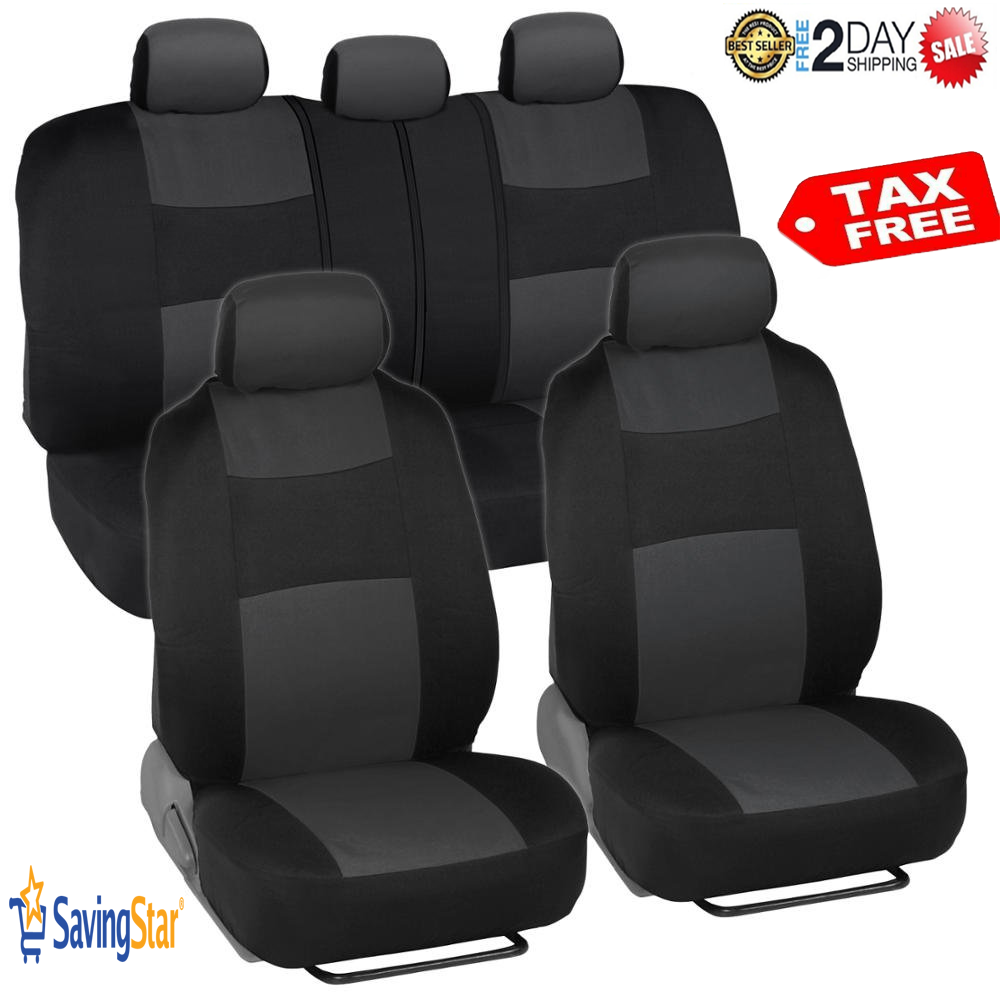 Universal Canvas Breathable Car Seat Cover Set Front /& Rear Protector Cushions