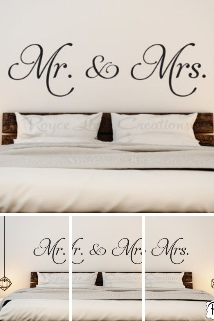 Master bedroom wall decor stickers  Mr and Mrs Vinyl Bedroom Wall Decal  Bedroom Decor  Bedroom Wall
