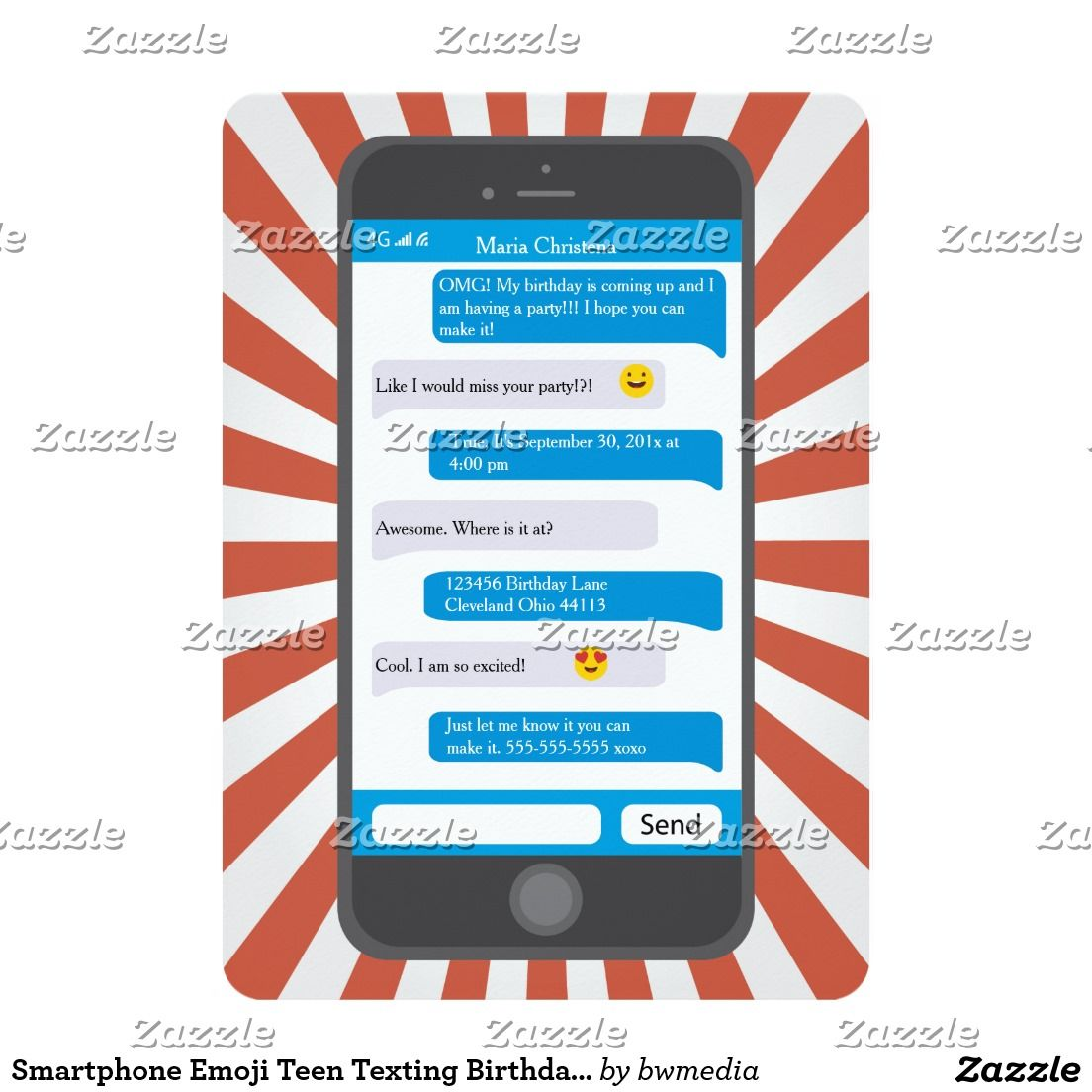 Smartphone Emoji Teen Texting Birthday Party Invitation A Cute And Fun Cellphone Text Message Complete With Emoticons For The