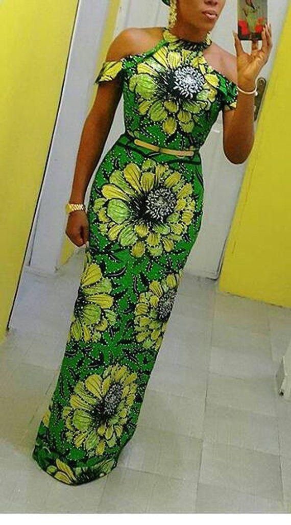 Damen, Ankara, Kleid, Verziertes, Afrikanisches Kleid #africanprintdresses