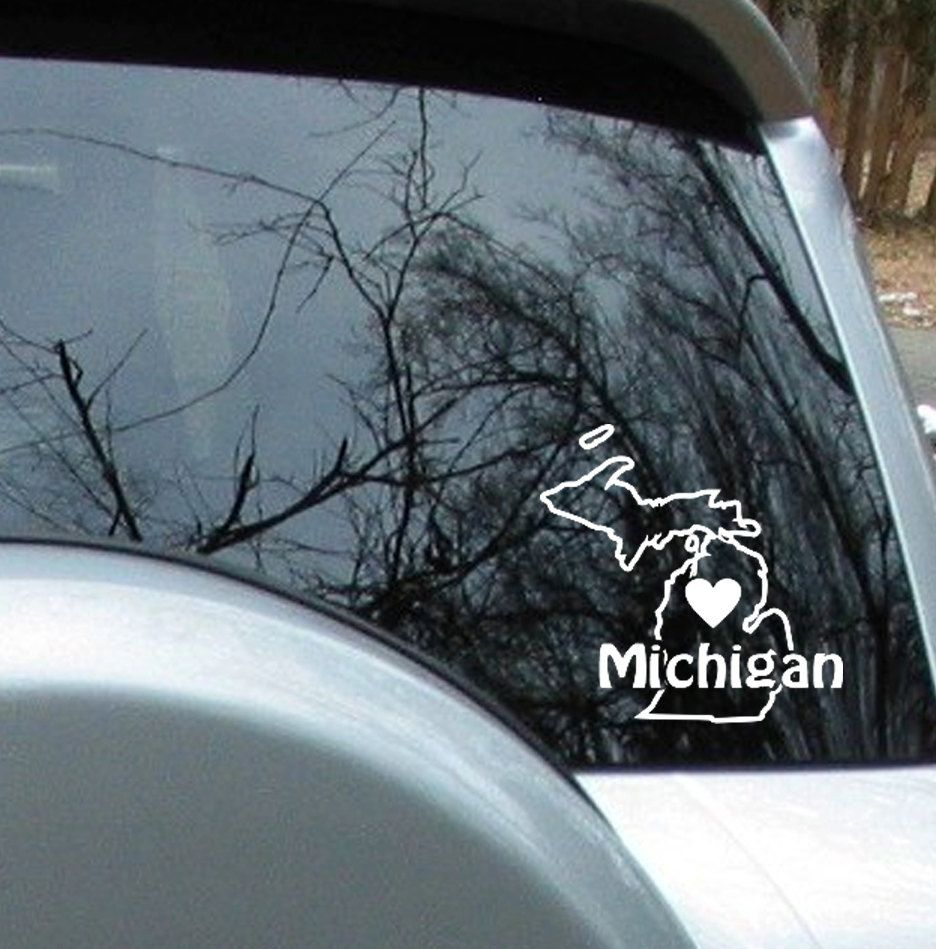 Love Michigan State Sticker Car Decal 4 99 Via Etsy Car Decals Car Stickers Decals [ 949 x 936 Pixel ]