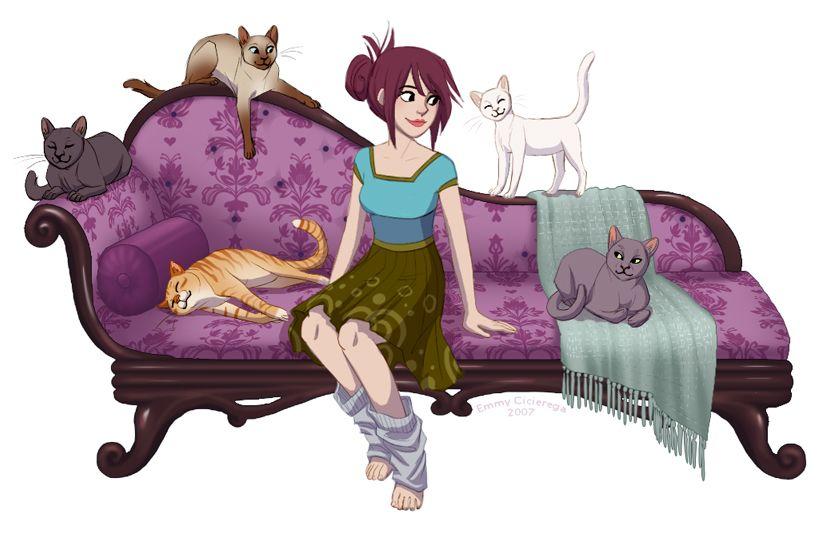 Кот на диване картинка для детей