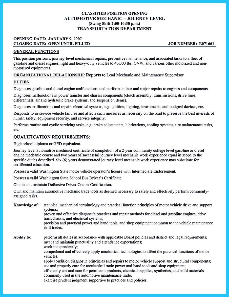 Aircraft Mechanic Resume Template Nice Delivering Your Credentials Effectively On Auto Mechanic