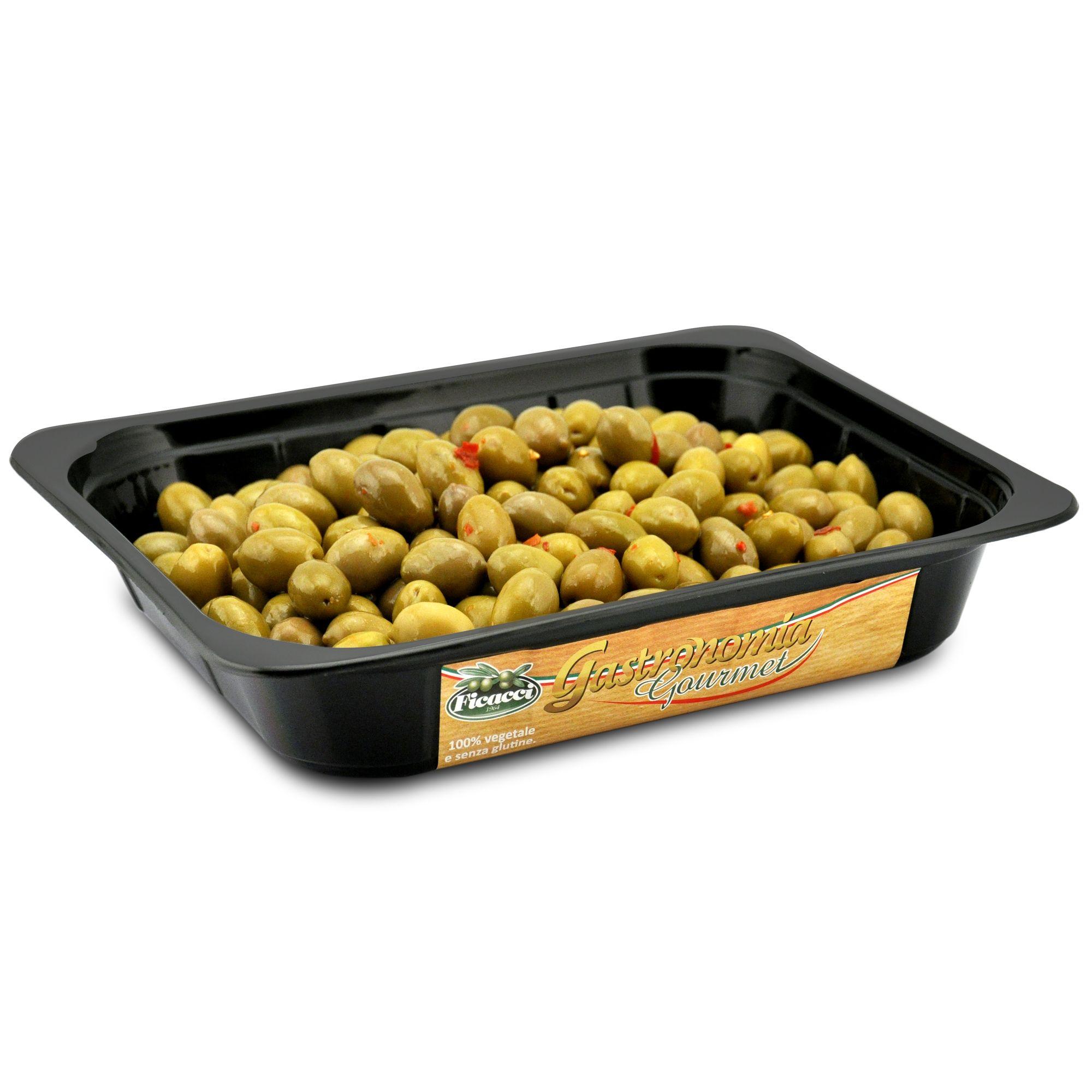 IT   OLIVE VERDI GRECHE CONDITE: il condimento è molto semplice: olio e peperoncino.la semplicità della ricetta  EN   GREEN CHILI OLIVES: a simple recipe prepared with whole halkidiki olives and chili peppers.  http://www.ficacci.com/scheda.asp?id=10&idgamma=11&categ=prodotti