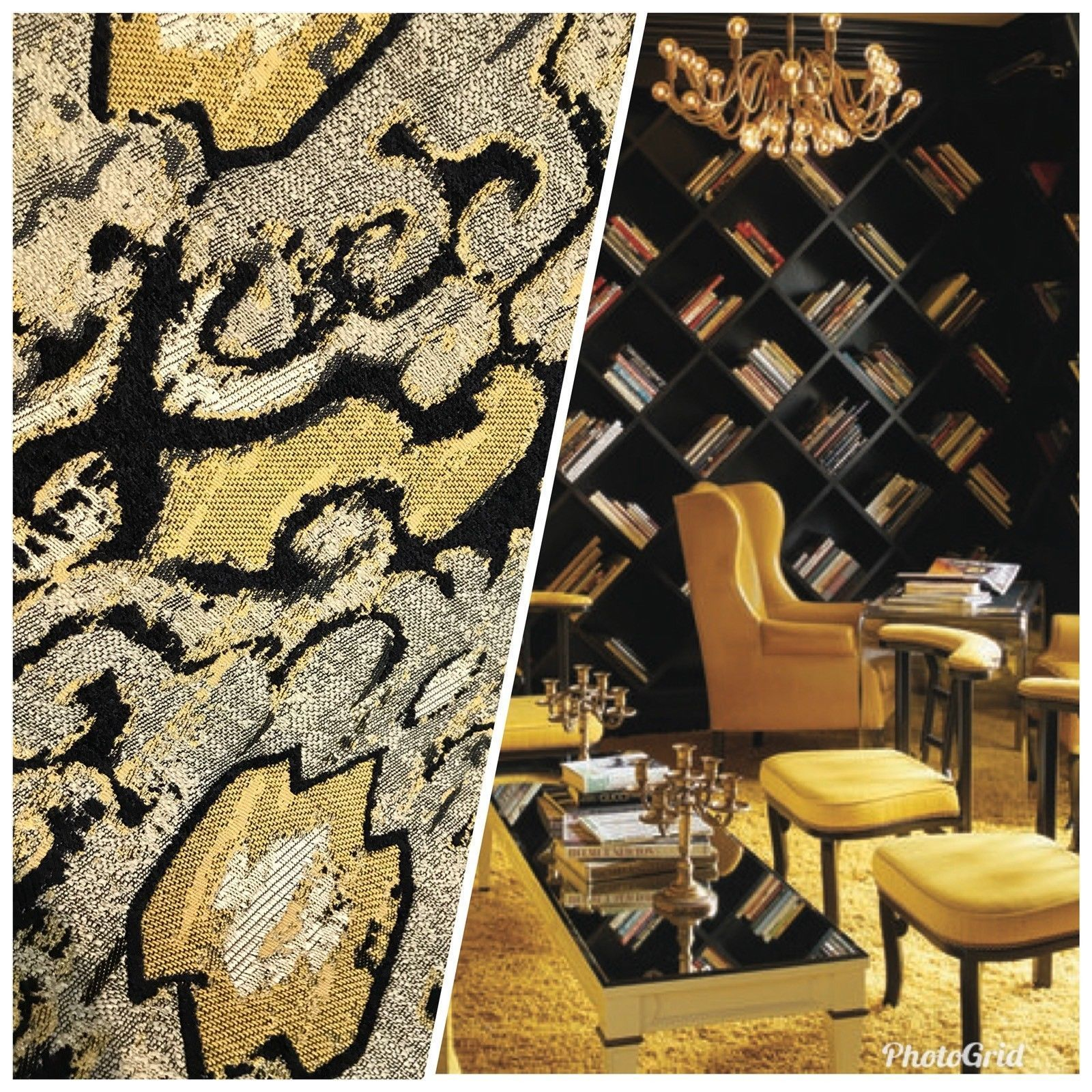 New Yellow Black Designer Burnout Chenille Upholstery Fabric By