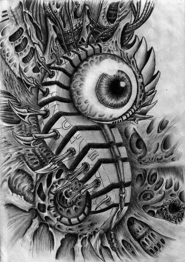 Biomech eye by ZmeyMH on DeviantArt Bio organic tattoo
