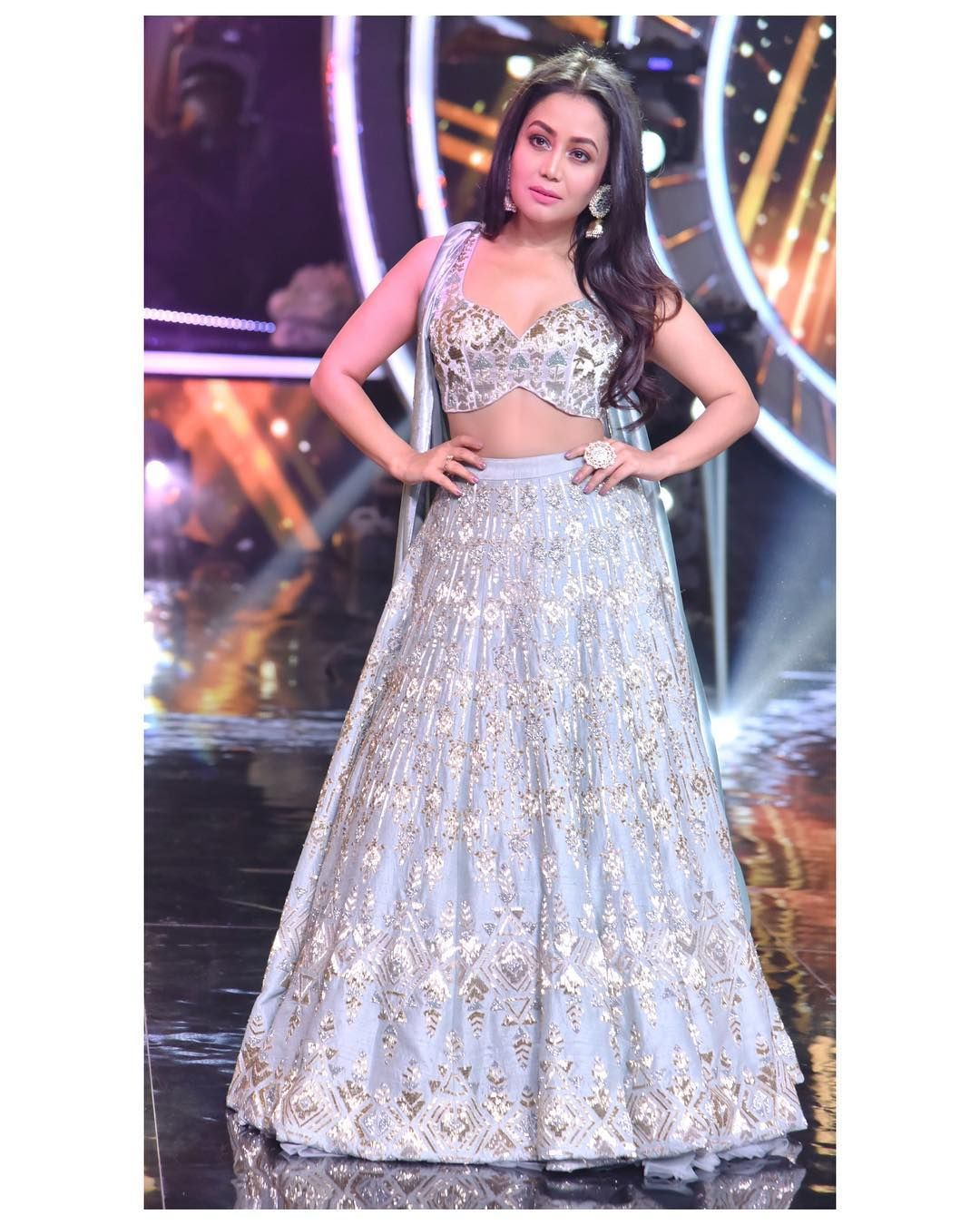 Image May Contain 1 Person Standing Neha Kakkar Dresses Bollywood Outfits Indian Wedding Wear