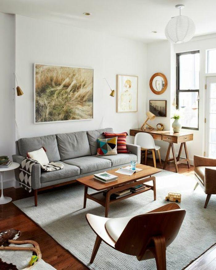Wohnideen Wohnzimmer Graunuancen Holzmöbel Wanddeko Fellteppich Bereiche |  Q | Pinterest | Fellteppich, Wohnideen Wohnzimmer