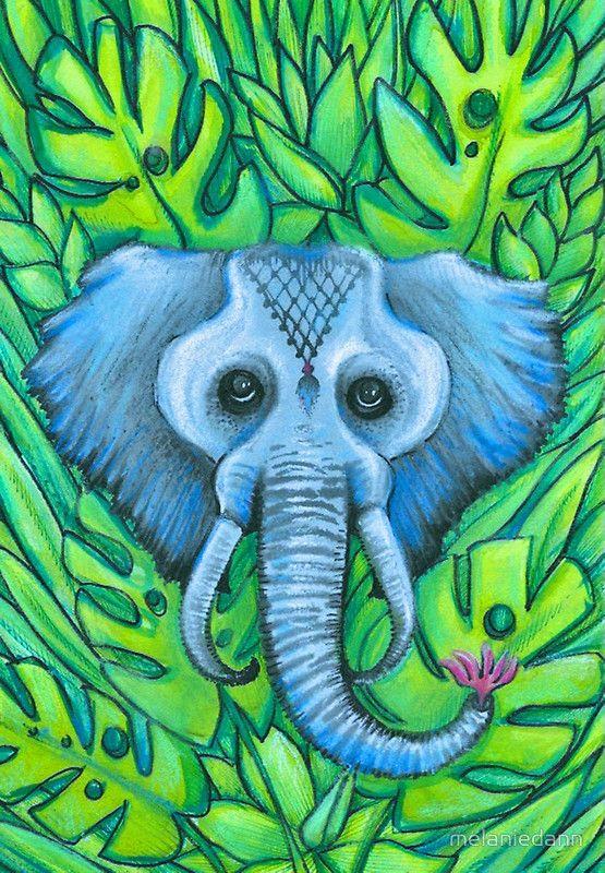 blue elephant art by melanie dann