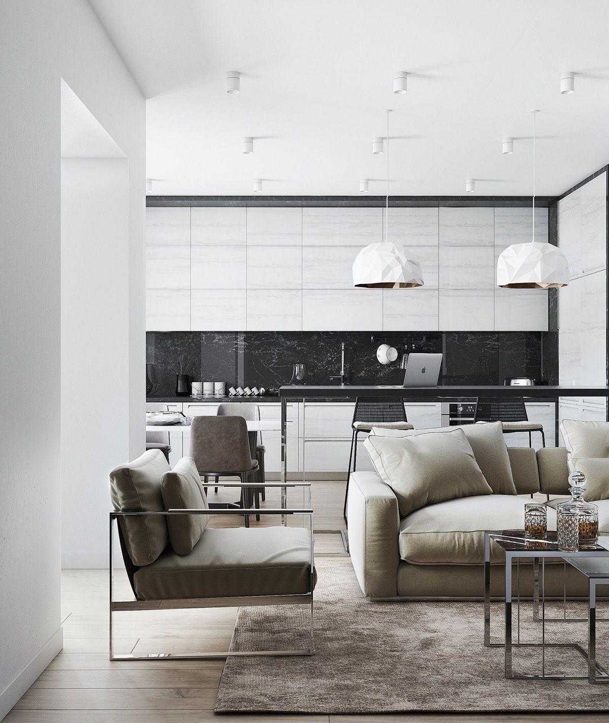 schöne Black u White Küche Designs  Küchen   Pinterest