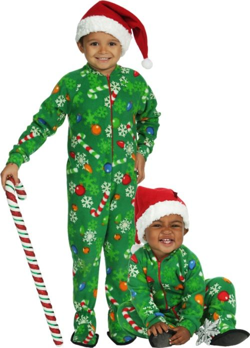 Toddler Girl/'s Green Christmas Presents Holiday Footed Pajama Sleeper