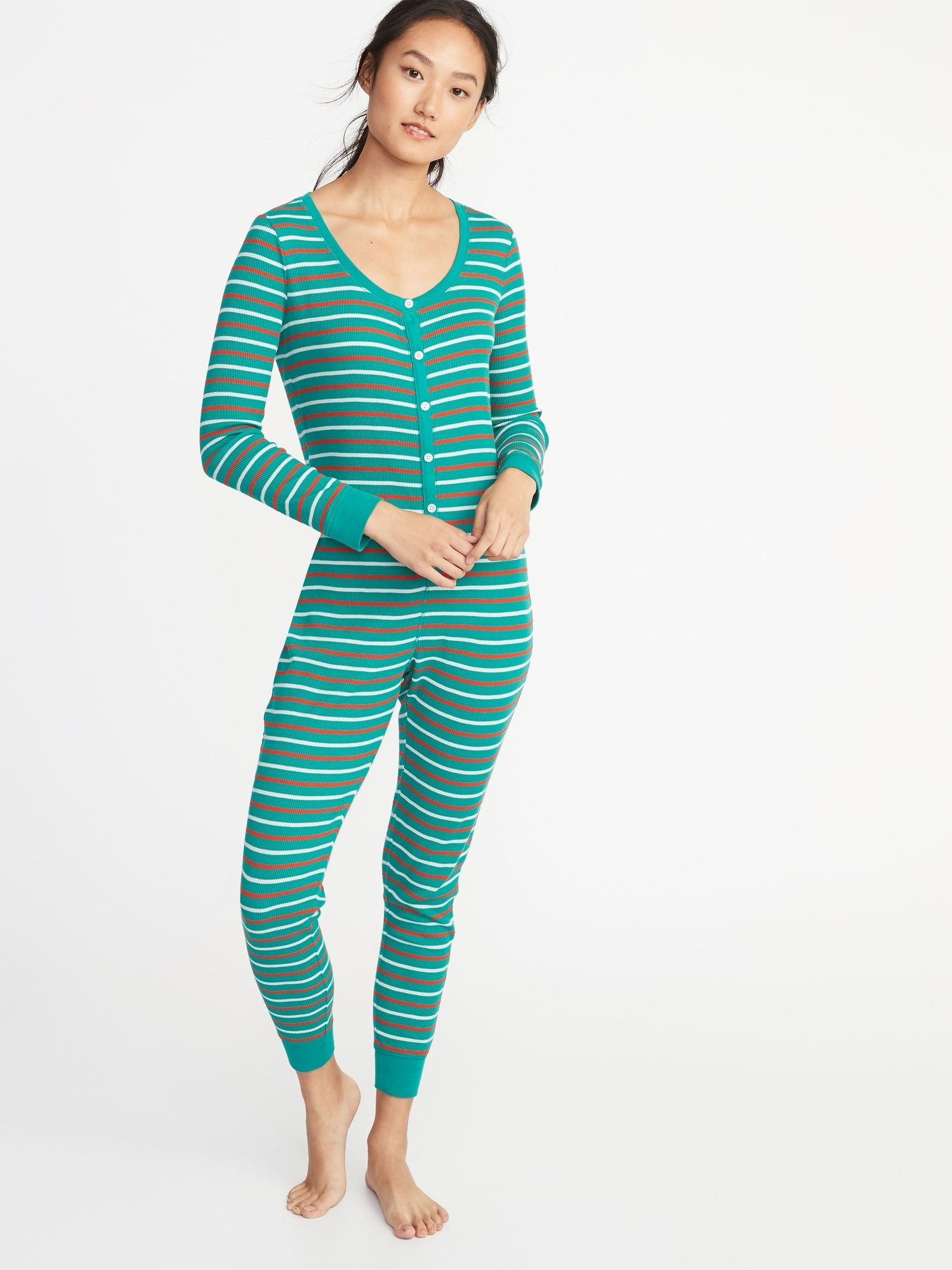 Patterned ThermalKnit OnePiece PJs for Women Old Navy