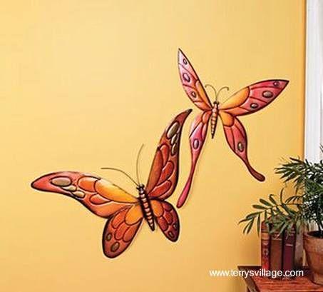 Mariposas pintadas en la pared mariposas pintadas for Mural de flores y mariposas