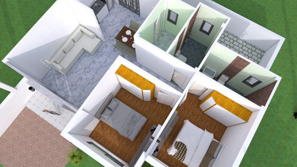 Simple Home Design Plan 10x8m With 2 Bedrooms Samphoas Plansearch Simple House Simple House Design House Design