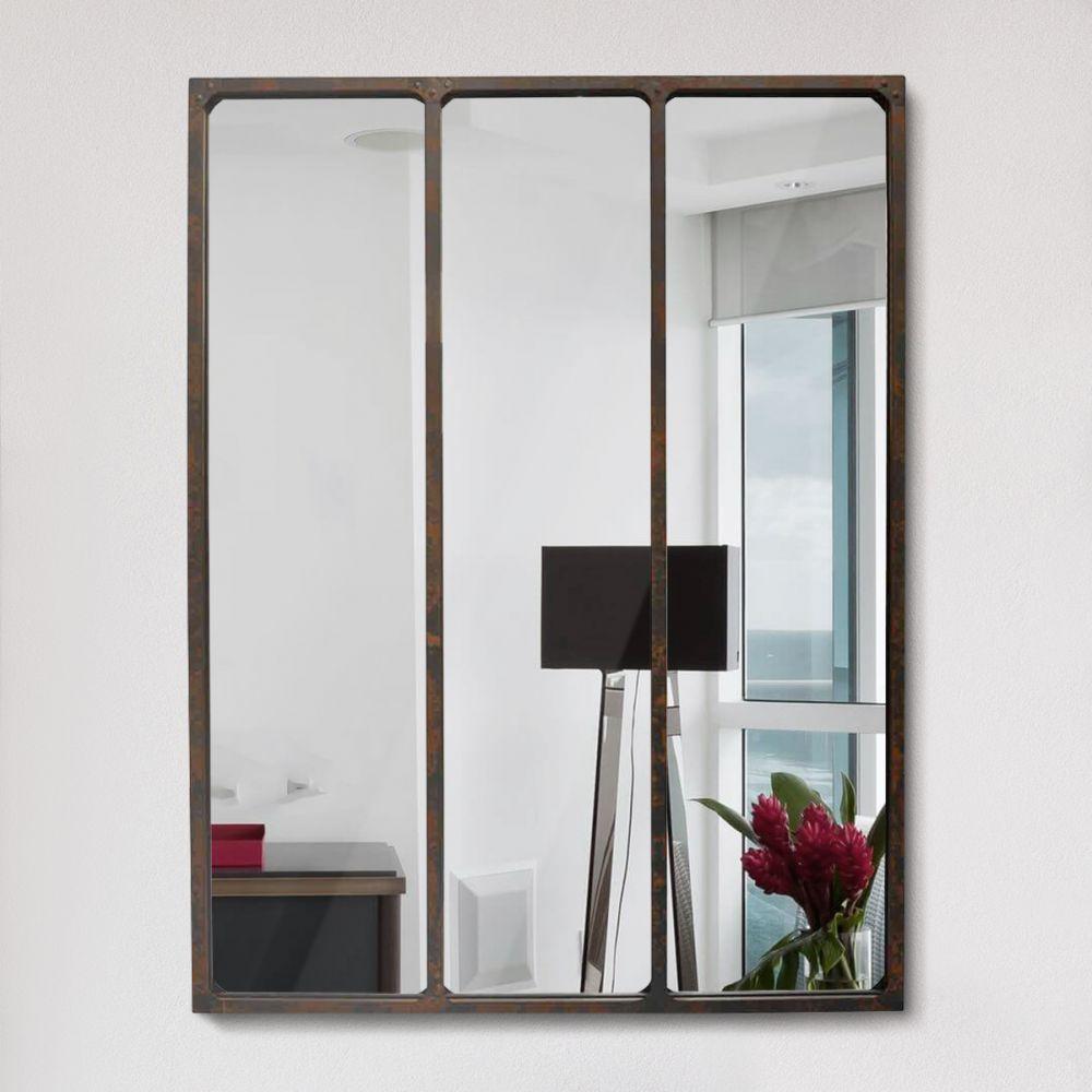 miroir verri re style industriel 90x120 l on couleur. Black Bedroom Furniture Sets. Home Design Ideas