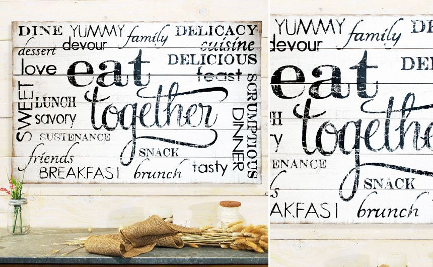 Kitchen Wall Art Sign Decor Farmhouse Signs Sayings Panel Distressed Weathered