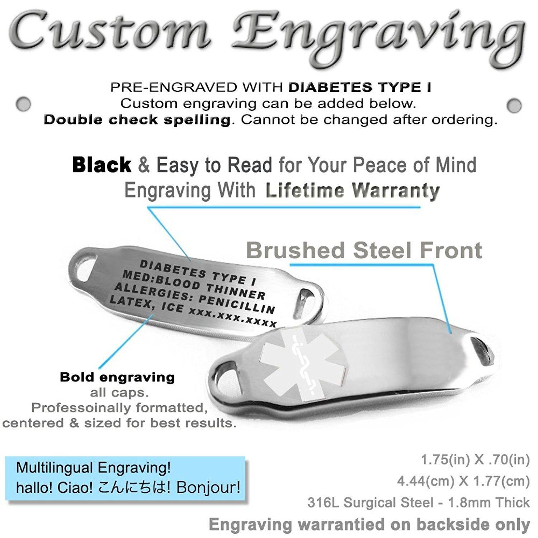 Engraved & Customizable Diabetes Type I Alert ID Bracelet