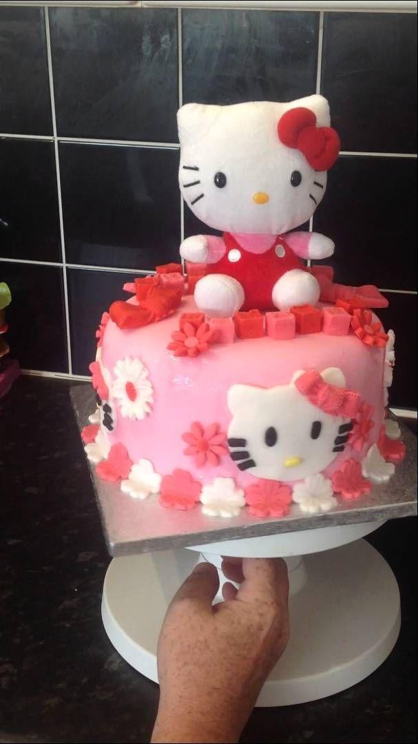 Hello Kitty Themed Birthday Cake Youtube Cakes Pinterest