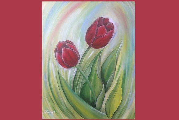 5f3c4ebe9 Quadro Tulipas Vermelhas - Pintura em tela. quadro tulipas quadro flores  flores quadro arte decoração