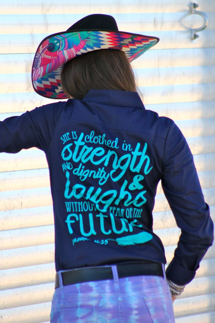 Navy She Is Clothed In Strength Rodeo Shirt Ranch Dressn My