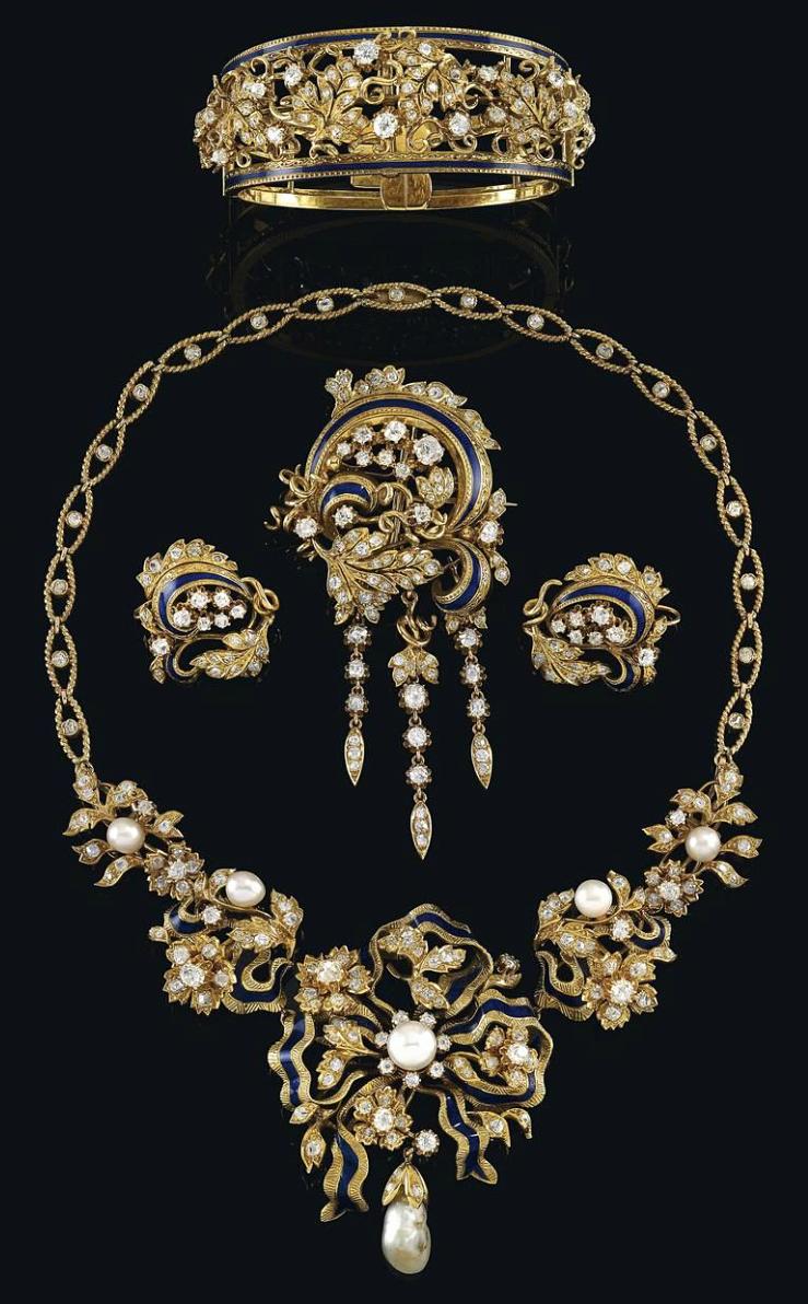 Aderezo francés en oro y perlas siglo xix hadas pinterest ear