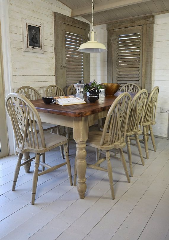 Rustic Shabby Chic Dining Table With 8 Wheelback Chairs White Country Grey