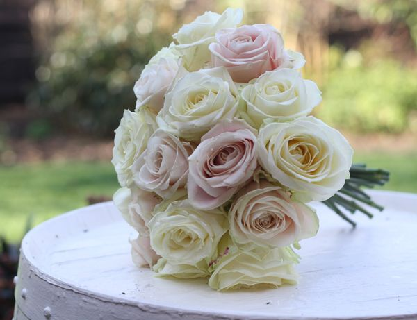 Pale Pink And Cream Rose Wedding Bouquet
