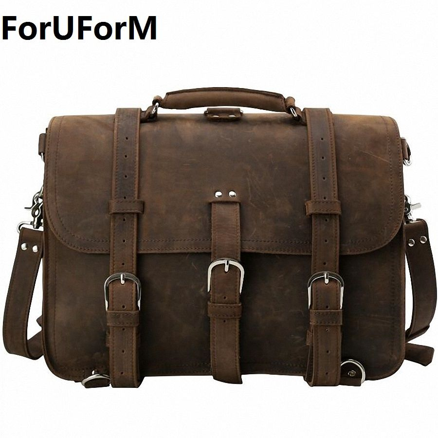 5a13cd088870 ForUForM Men Genuine Leather Messenger Bag Man Crossbody Shoulder Bag  Business Tote Briefcases Cow Crazy Horse Leather LI-1925