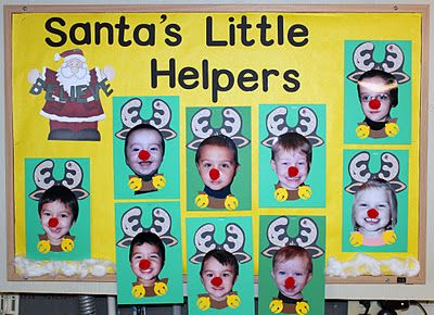 """""""Santa's Little Helpers:""""  This is a very cute idea that uses close up pictures of your students' faces and adds antlers on them so they become reindeers.  Add a red pop pop for a nose and a brown collar with bells for the finishing touches."""
