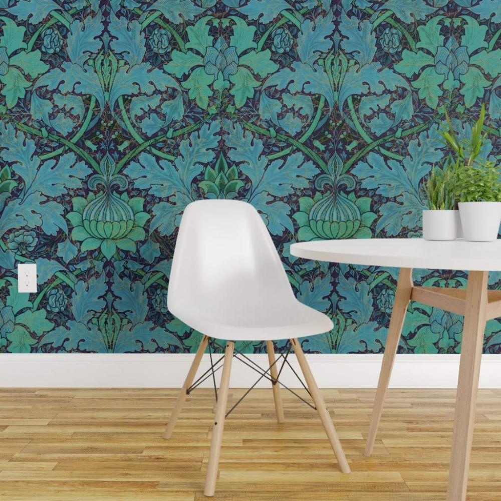 PeelandStick Removable Wallpaper Blue Leaf Foil Blue