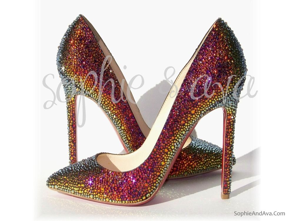 66aaa4ccd0fc Christian Louboutin Pigalle in Volcano Swarovski crystal shoes hand  embellished by Sophie   Ava (SophieAndAva.com)