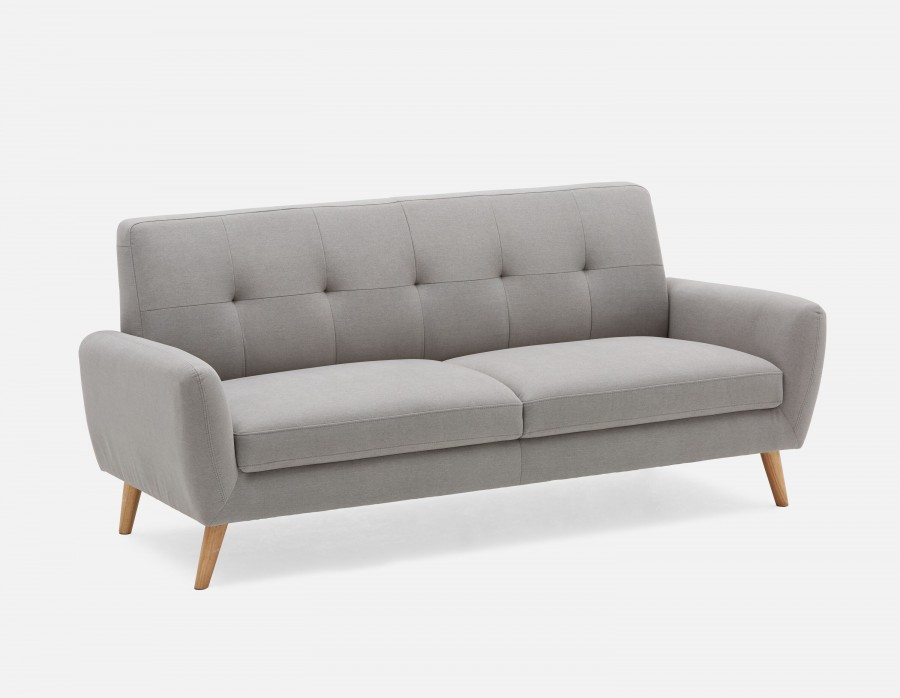 Fany Light Grey Upholstered Tufted 3 Seater Sofa Structu 3 Seater Sofa Seater Sofa Armchairs For Sale
