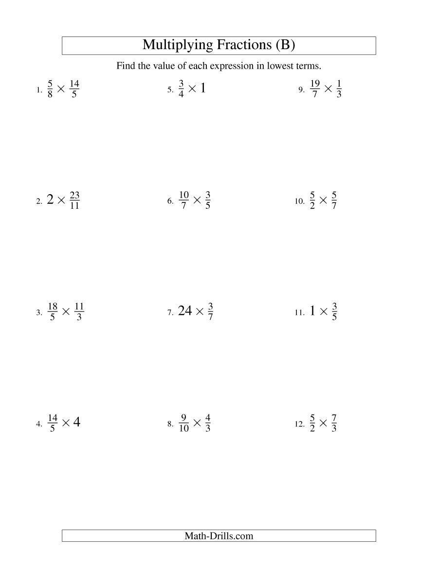 The Multiplying And Simplifying Fractions With Some Whole Numbers B Math Worksheet From The Fract Fractions Worksheets Proper Fractions Simplifying Fractions