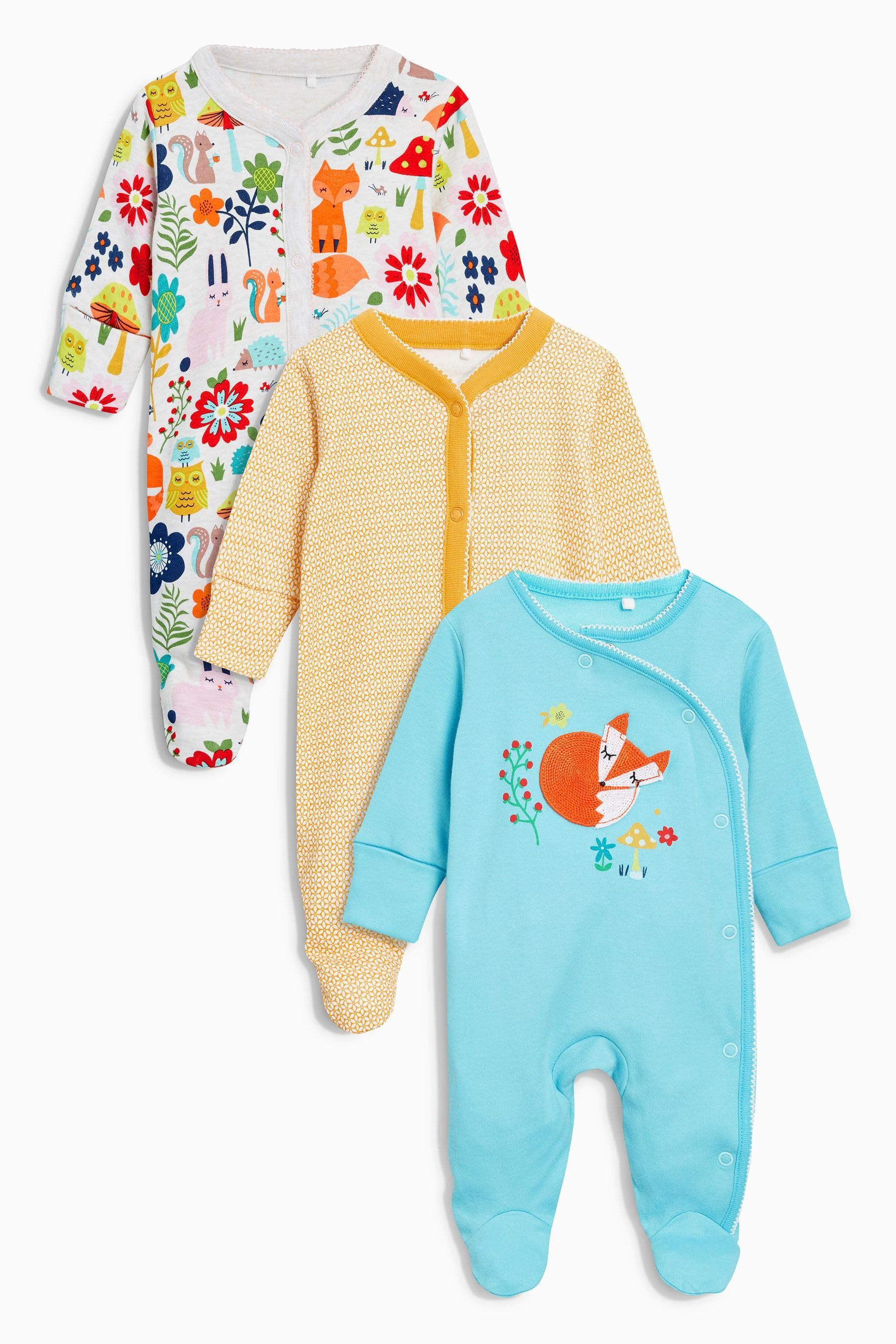 Buy Bright Fox Sleepsuits Three Pack 0mths 2yrs from the Next UK