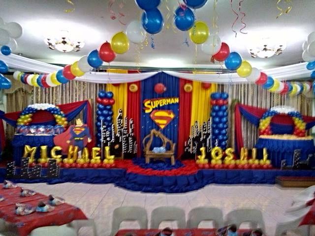 stage setup for superman theme balloon decor Pinterest Stage