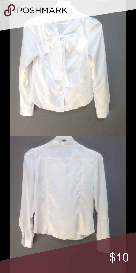 "Satin Bow tie blouse Korean style Satin blouse with bow tie in size Small.  Length shoulder 12.75"", neck to bottom 22"", width 15.5"", shoulder line to sleeve 23.5"" Tops Blouses"